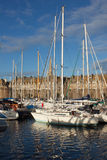 Yachts in harbor of Saint Malo old town Stock Images
