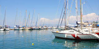 Yachts in the harbor at sea Royalty Free Stock Photo