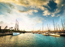 Yachts in the harbor Stock Photo
