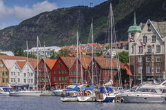 Yachts in the harbour with Bryggen in the background Stock Photography