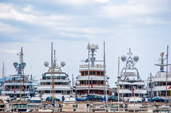 Yachts in harbour Stock Image