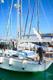 Yachts in harbour. Mast of Yachts in safe harbor Royalty Free Stock Photos