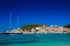 Yachts in the harbour of Port de Soller Royalty Free Stock Images