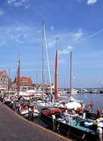Yachts in harbour, Volendam. Stock Image