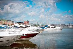 Yachts in Helsinki stock image
