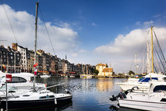 Yachts in the Honfleur harbor Royalty Free Stock Photo