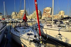 Yachts and hotels sunny marina of La Grande Motte France royalty free stock photography