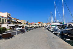 Yachts and houses - Greece Islands Royalty Free Stock Photos