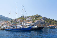 Yachts at Hydra Island Stock Photography