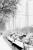 Yachts in ice and snow - black and white Stock Photos