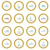 Yachts icons circle. Gold in cartoon style isolate on white background vector illustration Stock Photography