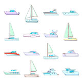Yachts icons set, cartoon style. Yachts icons set. Cartoon illustration of 16 yachts vector icons for web Royalty Free Stock Image