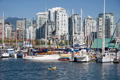 Yachts in the inner harbour, Vancouver, BC Royalty Free Stock Image