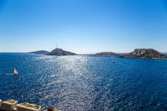 Yachts between the islands of Friuli archipelago: the view from the castle on the island of If, France Stock Photography