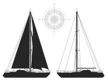 Yachts isolated on white background. Stock Image