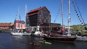 Yachts in Klaipeda Old Castle Harbour stock video