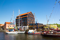 Yachts in Klaipeda Old Castle Harbour Stock Photography