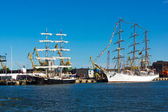 Yachts in Klaipeda Old Castle Harbour Stock Image