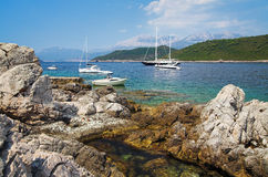 Yachts in the Kotor Bay Royalty Free Stock Photos