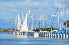 Yachts in a lagoon Royalty Free Stock Images