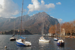 Yachts on Lake Como. Lekko, Italy Royalty Free Stock Photography