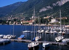 Yachts on Lake Como, Tremezzo, Italy. Stock Images