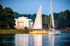 Yachts in lake Galve in Trakai Stock Photos
