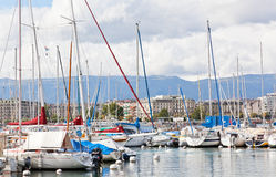 Yachts on the lake, Geneva Stock Photography
