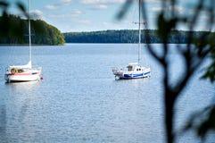 Yachts on Lake Plateliai, Lithuania Stock Photos