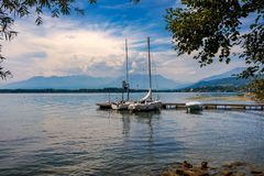 Yachts on Lake Viverone in Italy. Stock Images