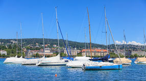 Yachts on Lake Zurich. View from the Zurich city in summer Stock Images