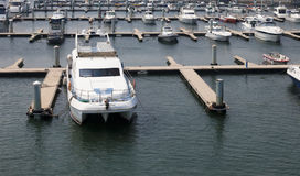 Yachts lie at a pier Royalty Free Stock Photo