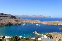 Yachts in Lindos bay Stock Photo
