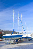 Yachts lined up on quay. Many yachts lined up on quay Stock Photography
