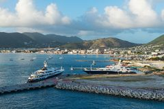 Yachts. Luxury yachts in the harbor, Great Bay, Philipsburg, St. Martin Stock Images