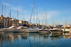 Yachts lying at   harbour Royalty Free Stock Images