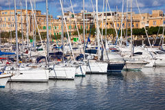 Yachts  lying at Marsamxett harbour Stock Photos