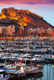 Yachts lying at Port of Alicante in sunrise. Spain Royalty Free Stock Image