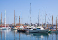 Yachts lying at Port Vell. Barcelona Stock Photos