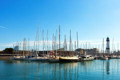 Yachts lying at Port Vell. Barcelona Stock Image