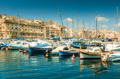Yachts  in Malta. The big harbor of the city Valetta, Malta with modern yachts Royalty Free Stock Images