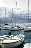 An yachts in marina. Yachts in marina and coming storm Royalty Free Stock Photos