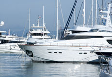 Yachts in the Marina. A selection of luxury yachts in the marina at Gibraltars Ocean Village Royalty Free Stock Photos