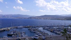 Yachts in marina, Agios Nikolaos, Greece stock video footage