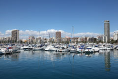 Yachts in the marina of Alicante Royalty Free Stock Photos