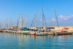 Yachts on marina of Ashkelon, Israel. Royalty Free Stock Photos