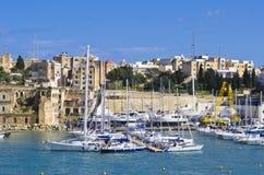 Yachts, marina de Senglea Photos stock