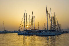 Yachts in a marina Stock Photo