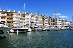 Yachts in the marina of Empuriabrava, Spain Royalty Free Stock Images