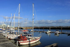 Yachts in marina at Fleetwood, Lancashire, U.K. stock photo